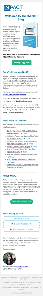 Blog Lead Magnet Email