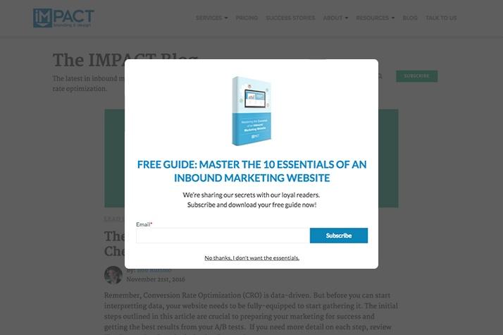 Blog Exit Intent